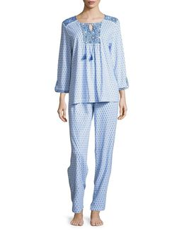 Patterned Top And Pants Pajama Set