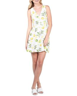 Citrus Lemon Print Mini Dress