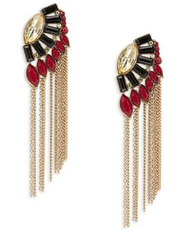 Stone Accented Fringe Earrings
