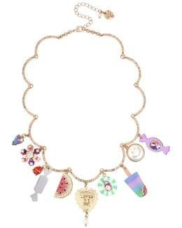 Brooklyn Shakey Mixed Charm Scalloped Necklace
