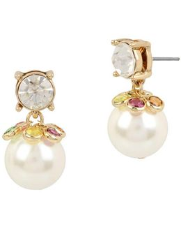 Brooklyn Faux Pearl & Crystal Studded Drop Earrings