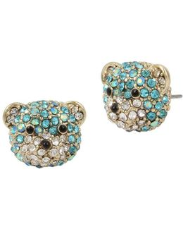 Gold-tone Pavé Teddy Bear Stud Earrings