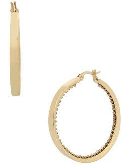 Textured-inlay Hoop Earrings