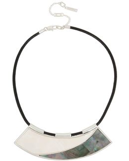 Shell Inlay Mother-of-pearl & Leather Cord Necklace