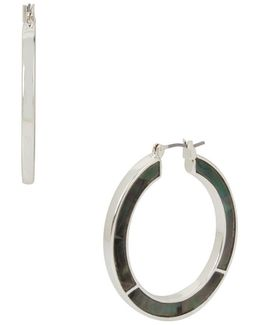 Shell Inlay Black, White Mother-of-pearl & & Semi-precious Stone Hoop Earrings/1.5""