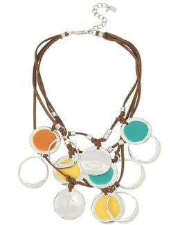 Color Wheel Leather Cord Multi-row Necklace