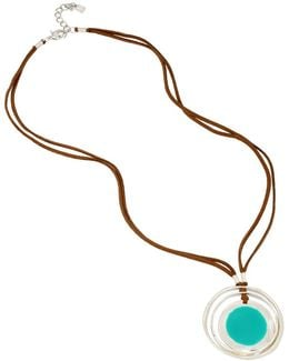 Color Wheel Orbital Pendant Leather Necklace