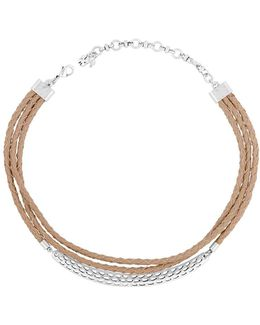 Silvertone And Leather Choker Necklace
