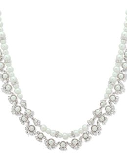 4mm-8mm Faux Pearl And Swarovski Crystal Two-row Collar Necklace