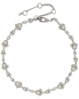 Swarovski Crystal And Faux Pearl Collar Necklace