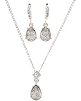Swarovski Crystal Pendant Necklace And Pear Earrings Set