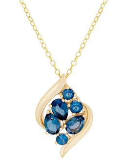 London Blue Topaz And 14k Yellow Gold Cluster Pendant Necklace