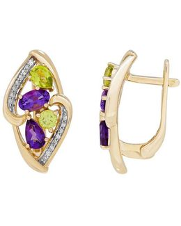 Diamond, Amethyst Peridot And 14k Yellow Gold Cluster Earrings, 0.106 Tcw