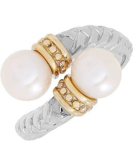 7mm White Oval Freshwater Pearl, 14k Yellow Gold And Sterling Silver Ring