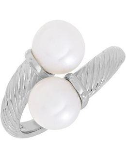 Double 7.5mm White Oval Freshwater Pearl And Sterling Silver Ring