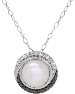 Diamonds, 9 Mm Oval Freshwater Pearl And Sterling Silver Pendant Necklace