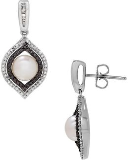 Diamonds, 7mm Button Freshwater Pearl And Sterling Silver Drop Earrings