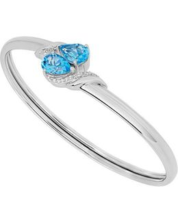 Swiss Blue Topaz, White Topaz And Sterling Silver Ring