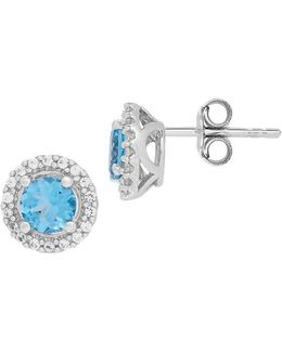 Swiss Blue Topaz, White Topaz And Sterling Silver Earrings