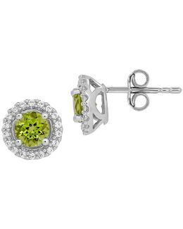Peridot, White Topaz And Sterling Silver Earrings