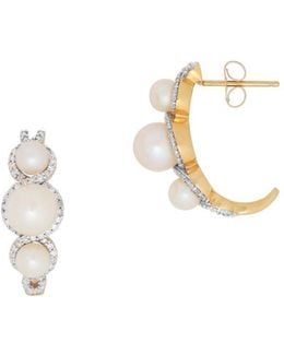 4mm White Oval Pearl, Diamond & 14k Yellow Gold Earrings