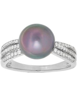9mm Oval Pearl, Diamond & 14k White Gold Ring