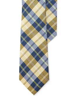 Plaid Linen-cotton Tie