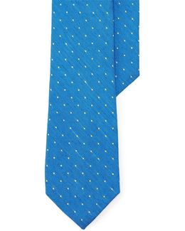 Pin Dot Linen-silk Tie