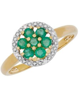 Emerald, Diamond And 14k Yellow Gold Ring
