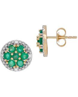 Emerald, Diamond And 14k Yellow Gold Stud Earrings