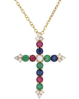 White Sapphire, Sapphire, Ruby, Emerald And 14k Gold Cross Pendant Necklace