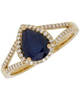 Sapphire, Diamond And 14k Gold Ring, 0.168 Tcw