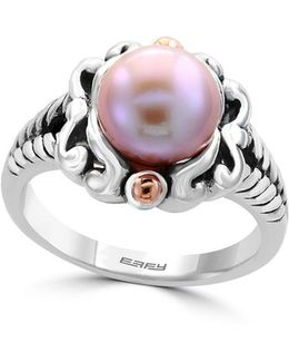 925 Pearl Sterling Silver & 18k Rose Goldplated Ring