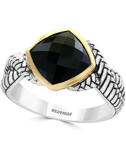 18k Yellow Gold And 925 Sterling Silver Ring