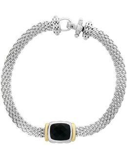 18k Yellow Gold And 925 Sterling Silver Bracelet