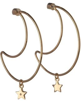 Cubic Zirconia Moon And Star Charm Earrings