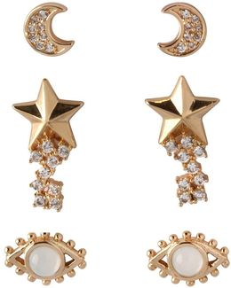 Cubic Zirconia Moon, Star, And Eye Earrings