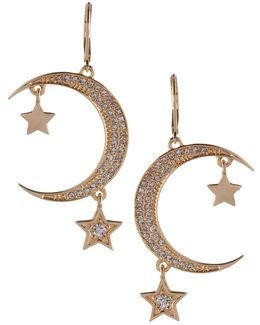 Cubic Zirconia Star And Moon Earrings
