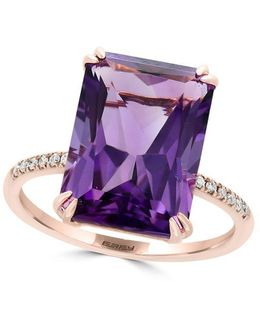 Viola Diamond, Amethyst And 14k Rose Gold Ring