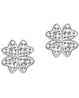 Sterling Silver Cloverleaf Stud Earrings