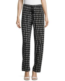 Tassel Accented Print Stretch Pants