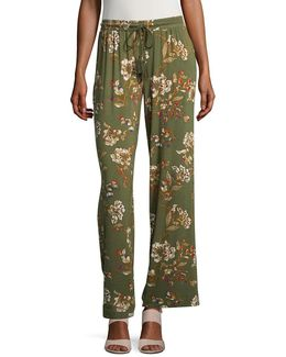 ??assel Accented Print Stretch Pants