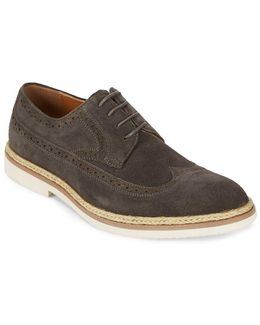 Long Wing Brogue Leather Derbys