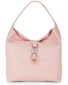 Logolock Leather Hobo Bag