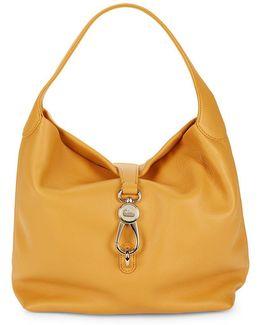 Logolock Leather Hobo Bag