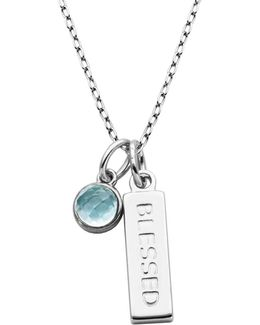 Sky Blue Topaz And Sterling Silver Blessed Pendant Necklace