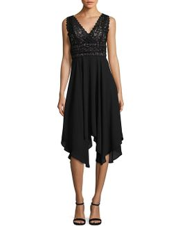 Lace-trimmed Asymmetrical Dress