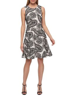 Paisley Print Fit And Flare Dress