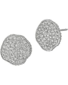 Diamond And 14k White Gold Button Earrings, 0.75 Tcw