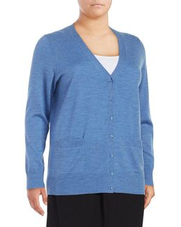 Plus Merino Wool Button-front Cardigan